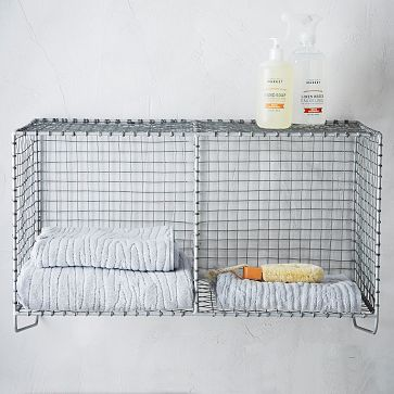 wire mesh storage hanging double shelf westelm