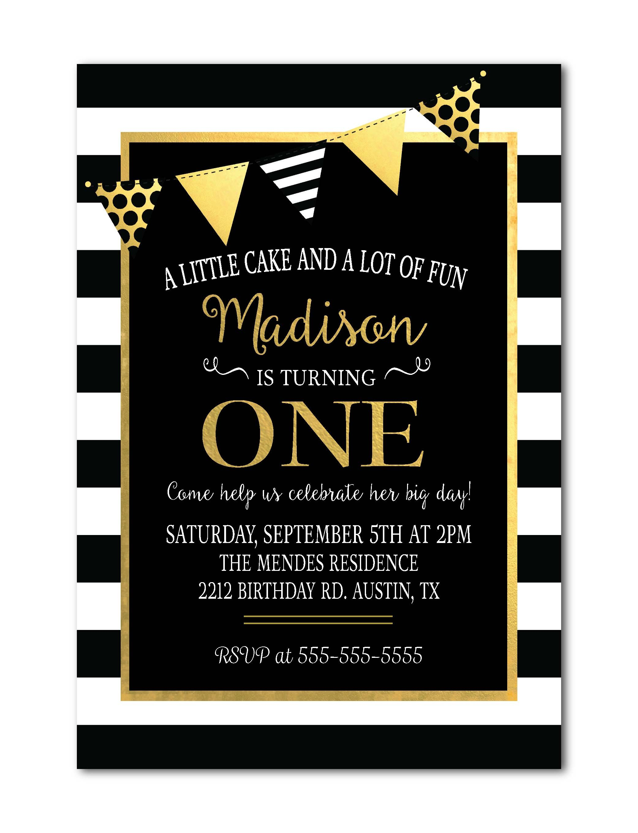 1st Birthday Invitation Black White Stripes Gold Birthday – Golden Birthday Invitation