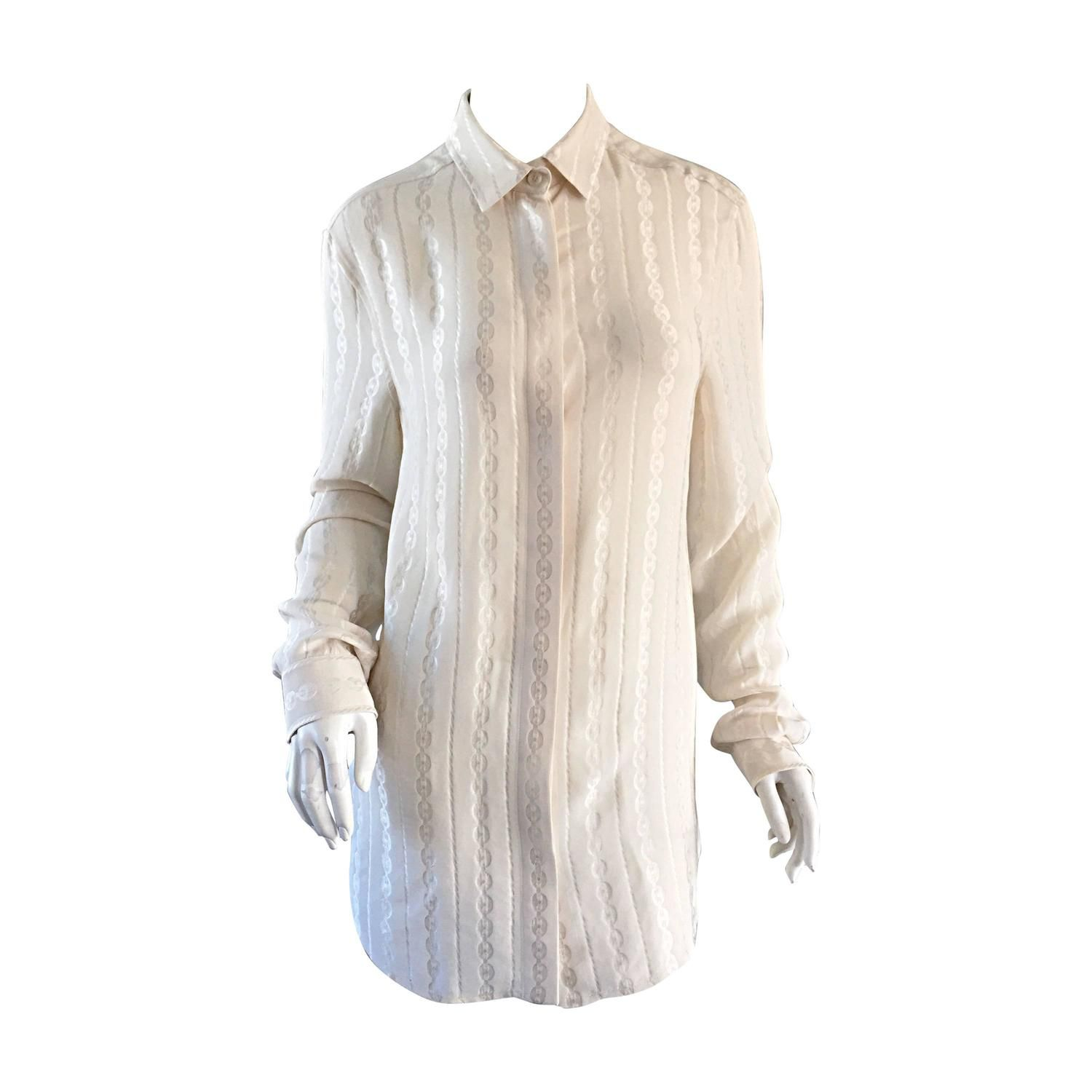 f0fa76cc Tom Ford for Gucci Ivory Silk ' Chain ' Print Classic Silk Blouse Top | From