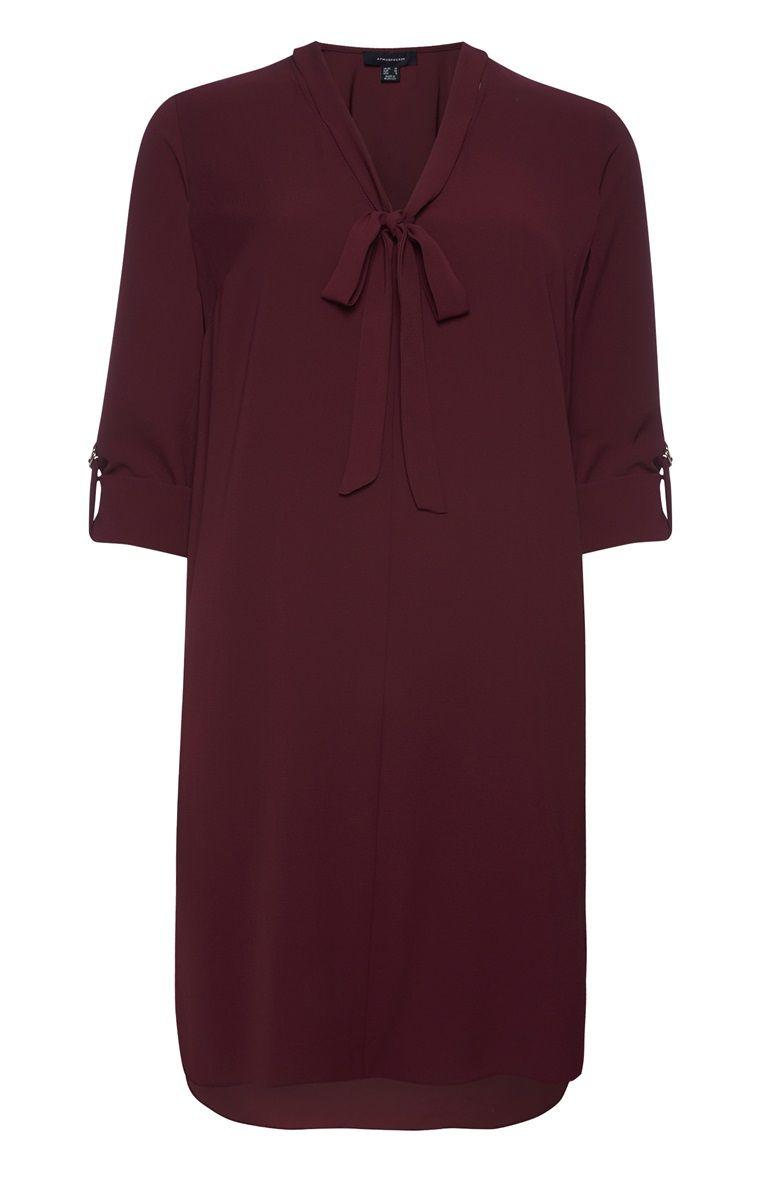 burgunderrotes kleid mit halsschleife | kleider, krepp, rot