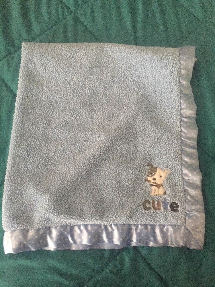 Carters Child Of Mine Blue Baby Blanket Puppy Dog Cute Satin Trim