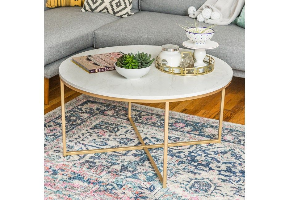 Bryon Alley White Cocktail Table Faux Marble Coffee Table Round