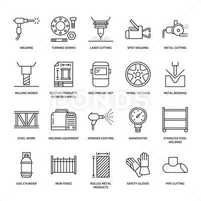 Welding services flat line icons. Rolled metal products ...
