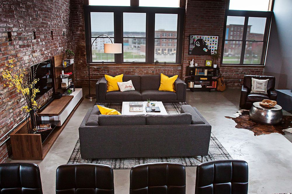 Industrial living room of urban loft in kansas city dashing urban loft uses contrasting textures to