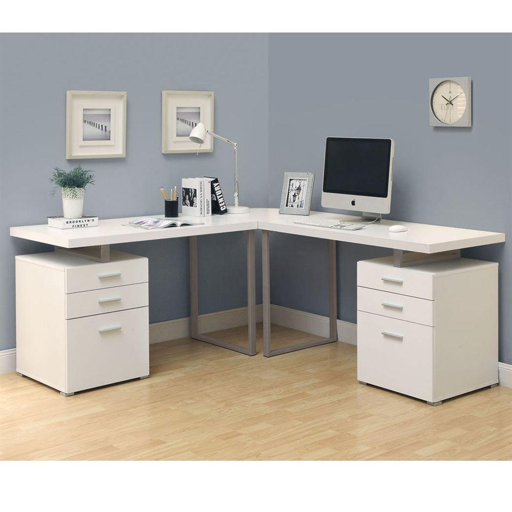 Modern Day L Shaped Desks White Corner Desk Home Office Design