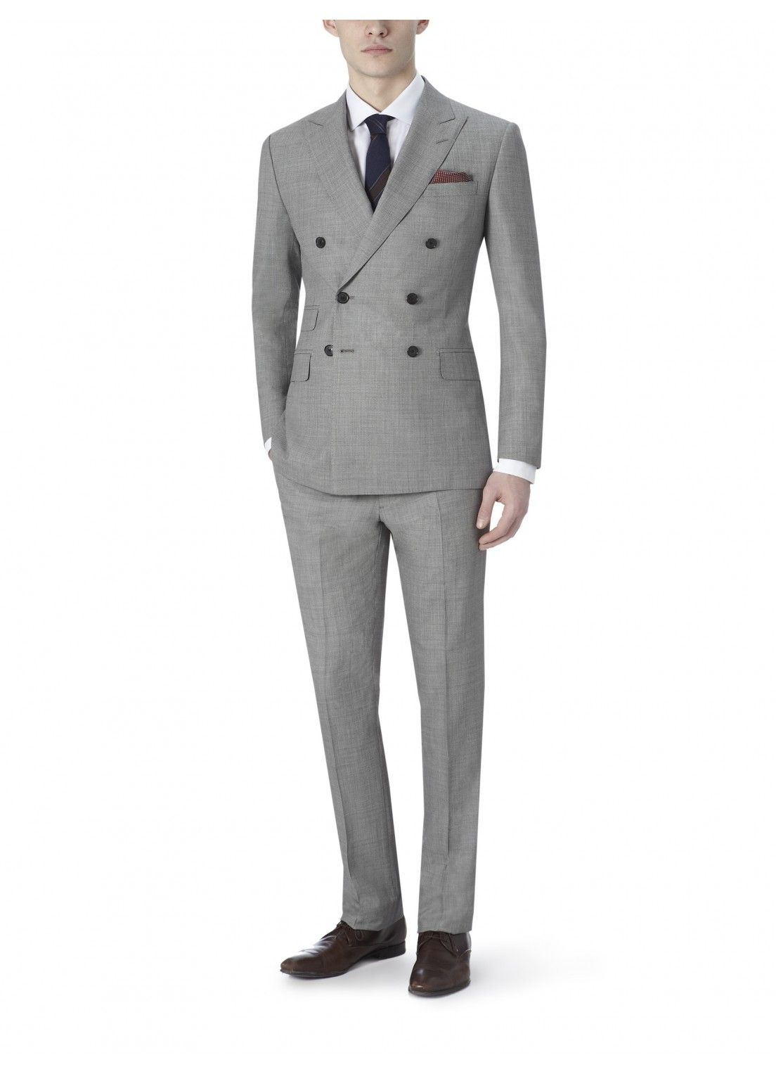 d551e098000e Grey Wool And Silk Full-Canvas Suit, Double Breasted | Men's Fashion ...