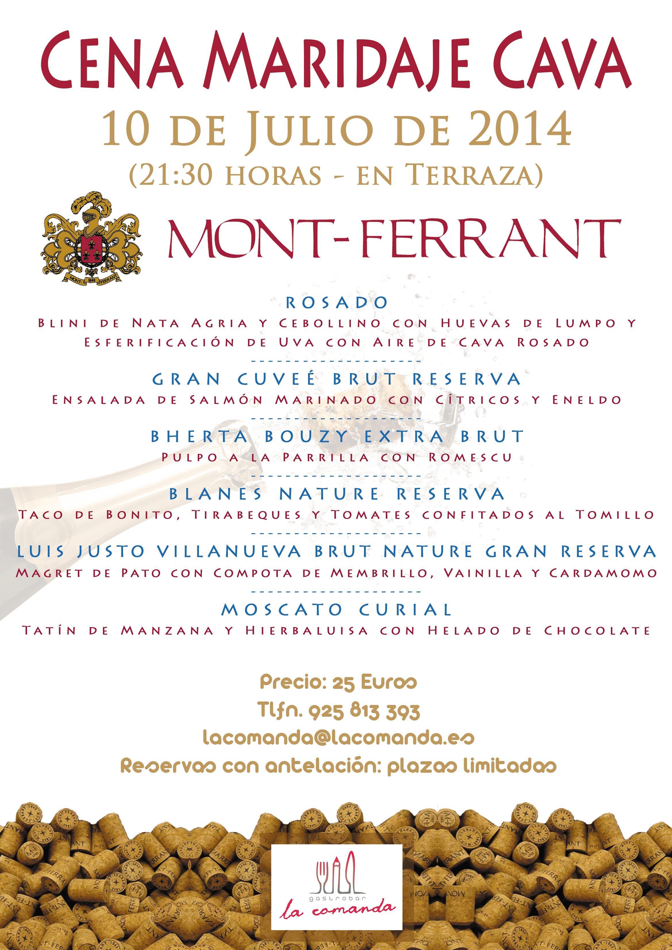 Menú cena maridaje Cava Mont-Ferrant