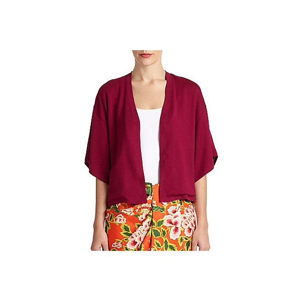Josie Natori Baya Silk/Cotton Kimono Sweater (340 BRL) ❤ liked on Polyvore featuring tops, sweaters, red, silk cotton sweater, red kimono, purple sweater, red top and short sweater
