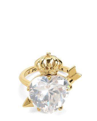 STONE HEART & CROWN COCKTAIL RING