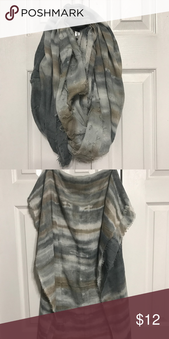 Gray and gold cowl scarf Super soft casual cowl scarf. Lightweight and perfect to layer with a top and jeans. Francesca's Collections Accessories Scarves & Wraps