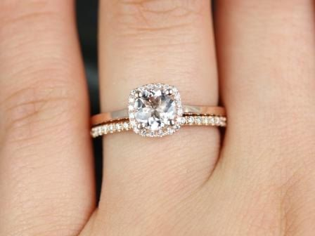 Morganite Diamond Cushion Halo Plain Band Wedding Set Rings Rings