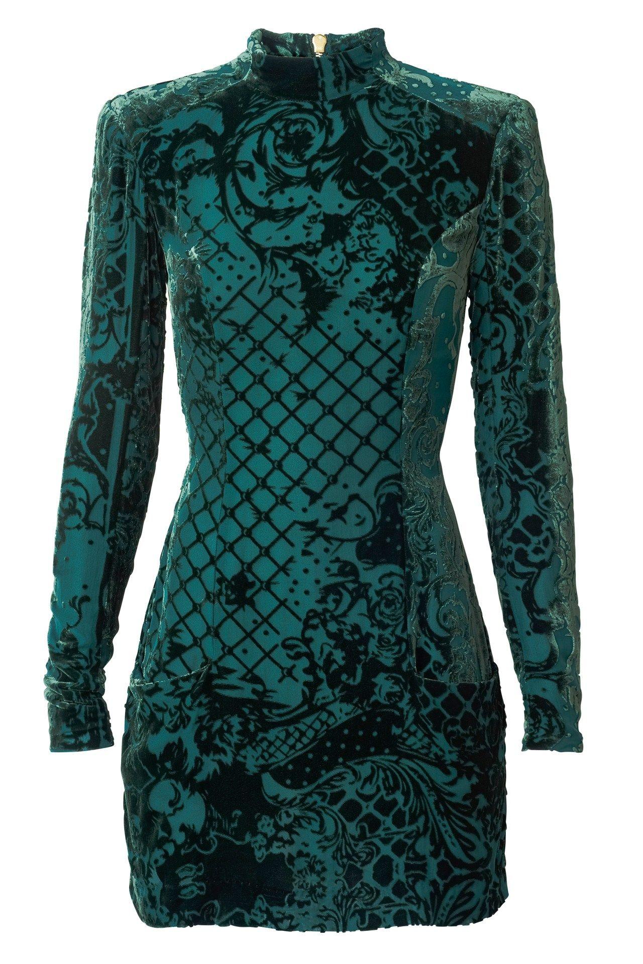 c77f37f34fab H&M + Balmain grön mönstrad klänning Green Dress, Green Velvet Dress,  Green