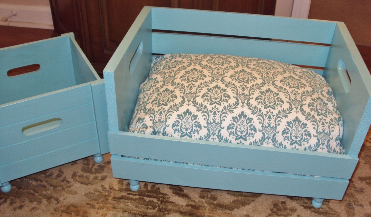 Upcycled Pet Bed Combo Bed And Toy Box Wood Crate Gift 2