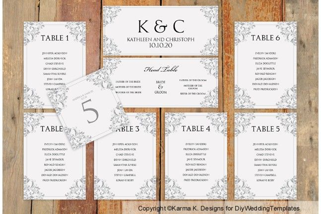 DiyweddingtemplatesCom  Seating Chart Templates WTable Number