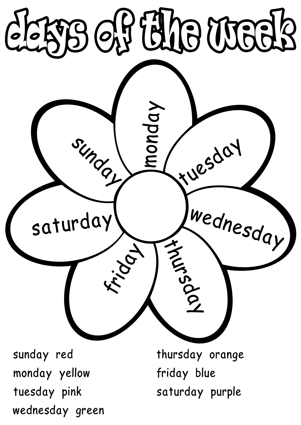 Color english worksheets - Days Of The Week Worksheets Activity Shelter