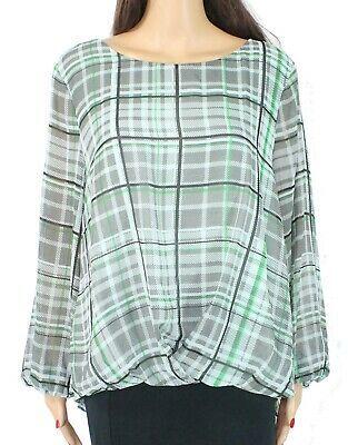 (eBay Ad) Vince Camuto Women's Blouse Green Black Size Large L Flutter Sleeve $89 #054
