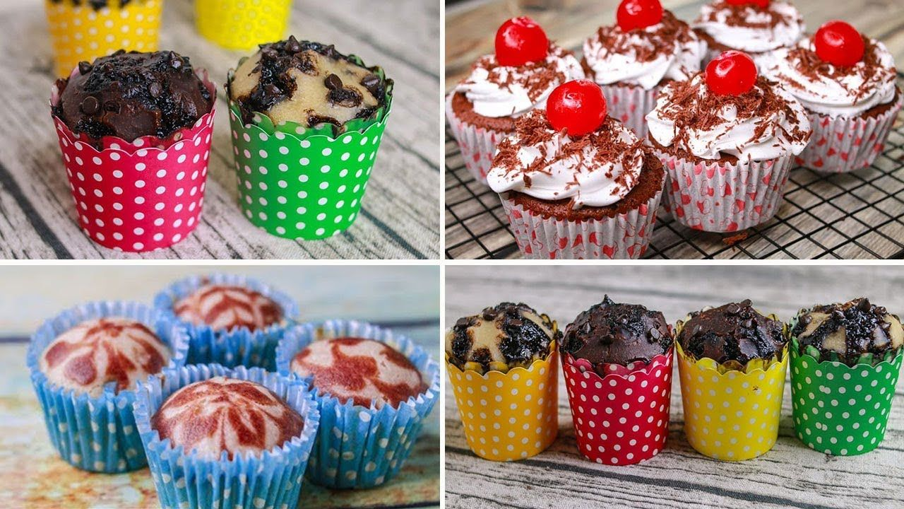 4 Easy Cup Cake Recipe Eggless Without Oven Yummy Black Forest Swirl Chocolate Chip Muffin Youtu Chocolate Chip Muffins Easy Cupcakes Cupcake Recipes