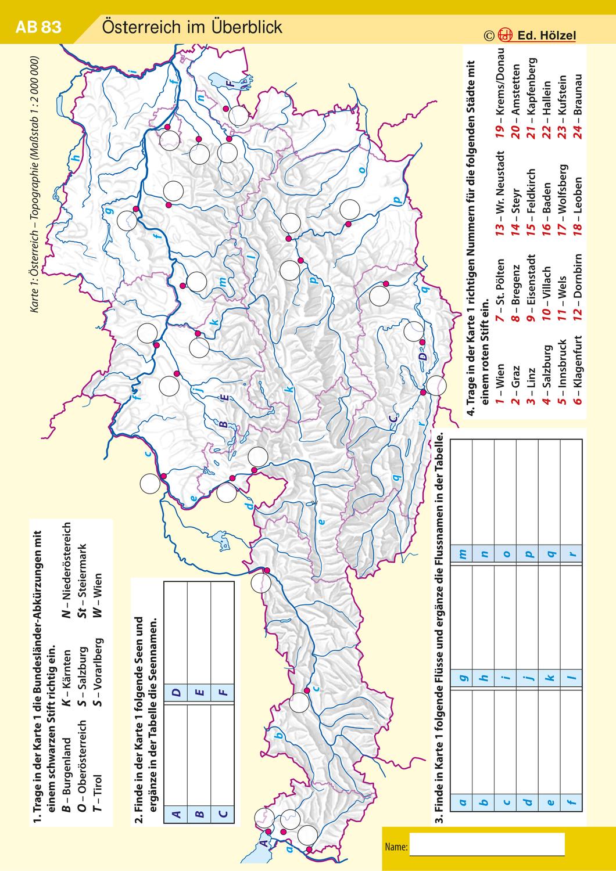Osterreich Topographie Unterrichtsmaterial Im Fach Erdkunde In 2020 Erdkunde Topographische Karte Geographisch