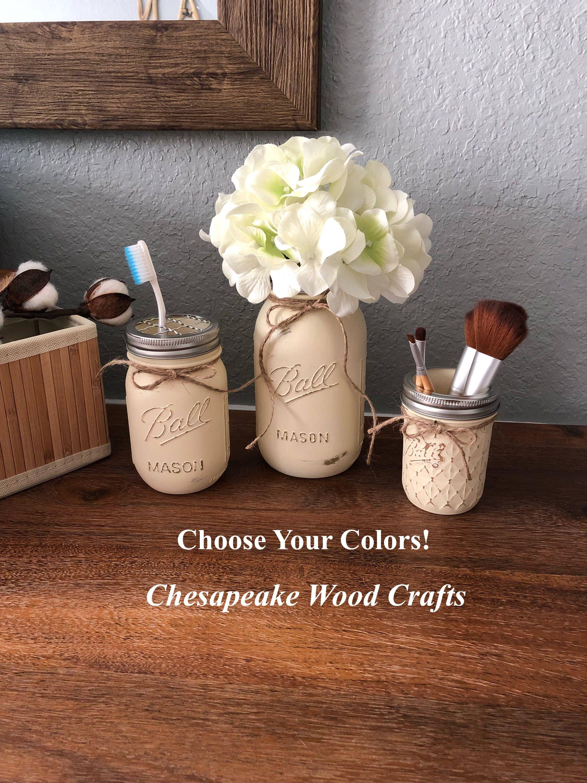 3 Piece Mason Jar Bathroom Set Farmhouse Decor Painted JarsHome And LivingToothbrush HolderRustic