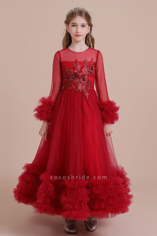 Flower Girl Dress Red Long Sleeves Flower Girl Dress Red Tulle White Lace Baby Girl Flower Girl Dress