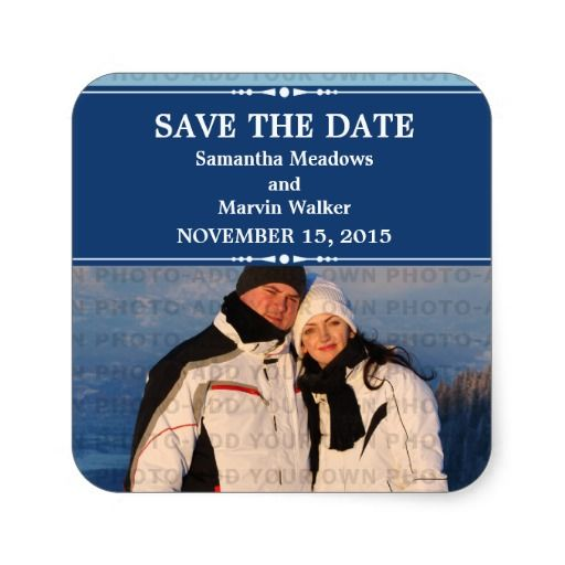 Blue Simple Chic Photo Save the Date Stickers