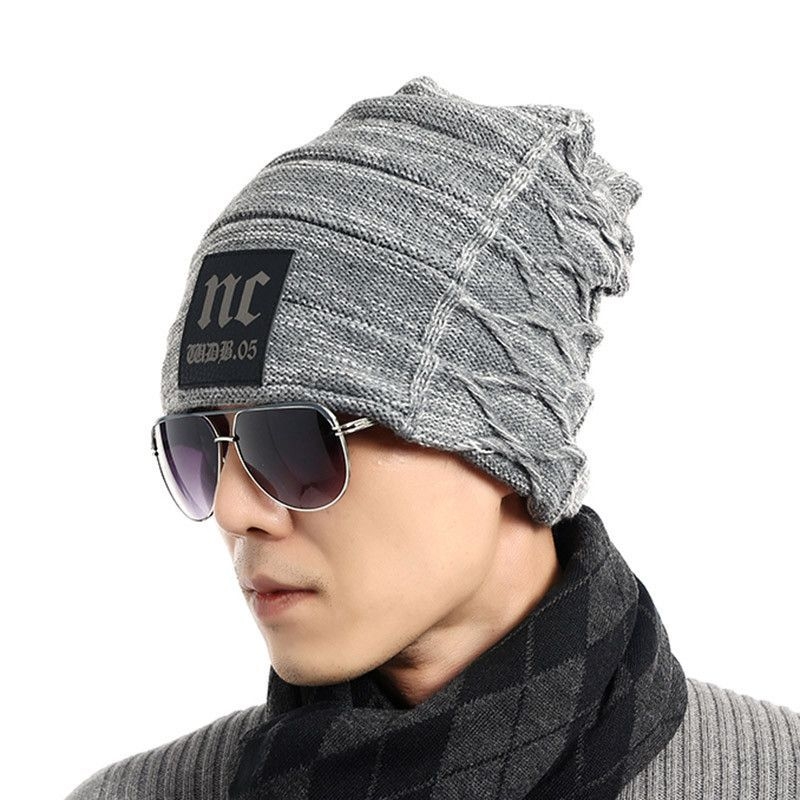 Knitted Hat Winter for Mens Warm Acrylic Solid Color Knit Hats and Scarf Sets Add Velvet Bonnet