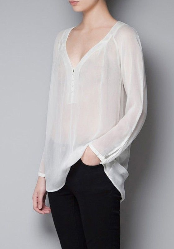 White Plain Buttons Long Sleeve Chiffon Blouse | Sexy, Sleeve and ...