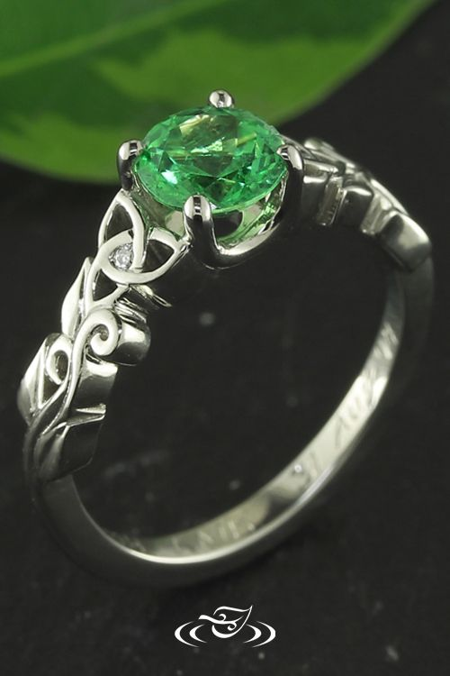Celtic Knot Engagement Ring With Brilliant Green Tsavorite Center