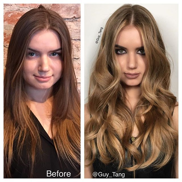 #TransformationTuesday model on stage with me at the hair show in Russia! @olaplex ! It's amazing how a hair cut with layers around her face frame to contour her face, dimensional Balayage highlights with Guy Tang+ @pravana PureLight Balayage lightener with some makeup can do to transform someone! I am excited to show our #Hairbesties some new techniques in our next coming shows!❤️
