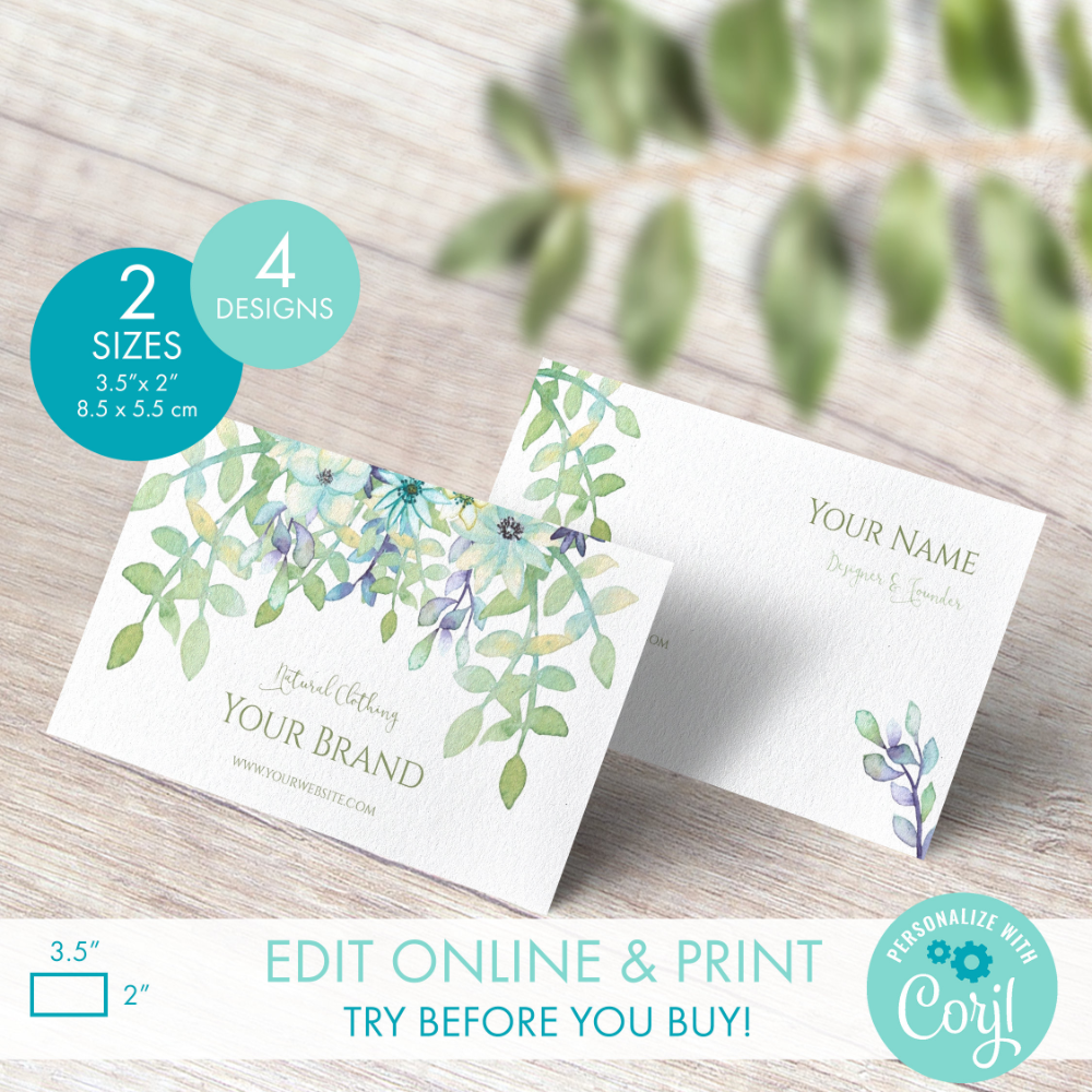 Printable Floral Watercolor Business Card Template 4 Etsy Watercolor Business Cards Diy Business Cards Card Template