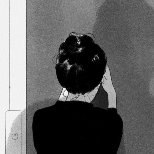 Ilustración de mujer llorando.