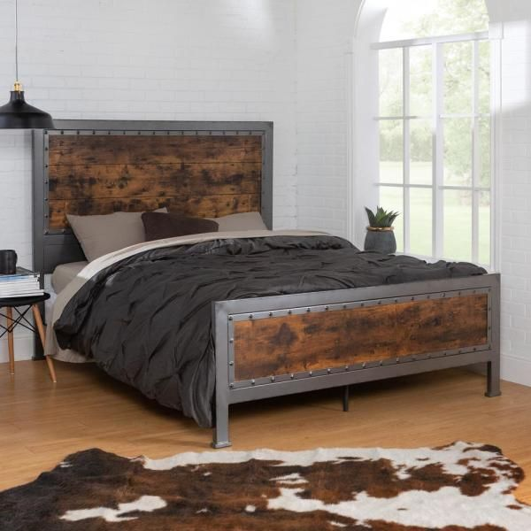 Walker Edison Furniture Company Queen Size Rustic Brown Industrial Wood And Metal Bed Hdqawrw In 2020 Bed Frame Design Bed Frame Adjustable Bed Frame