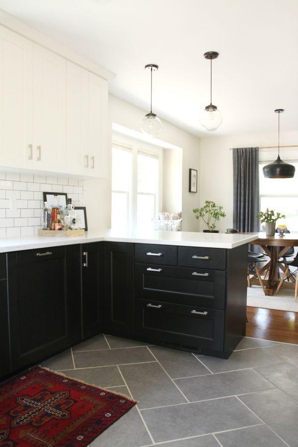Grey Herringbone Tile Kitchen Floor Alongside Medium Stain Wood Slate Kitchen Kitchen Flooring Kitchen Renovation