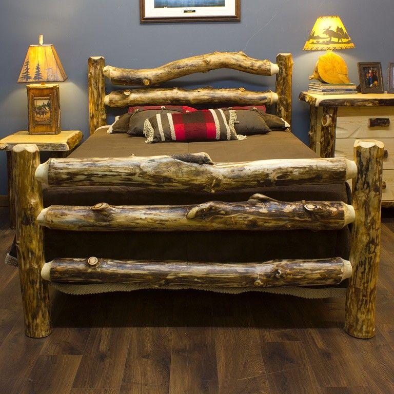 Unique log beds Log cabin furniture, Rustic furniture