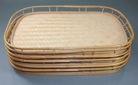 Set Of 6 Woven Bamboo Serving Tv Trays Rattan Mid Century Dinner Lap 60 S 70 S Retro Tv Trays Household Items Rattan