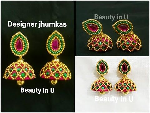 94f671b18 How to make Designer Silk Thread Jhumkas at Home | Bridal Jhumkas | Silk  Thread Earrings Tutorial - YouTube