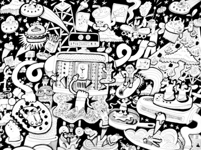 Super robot illustration to print and use as coloring page