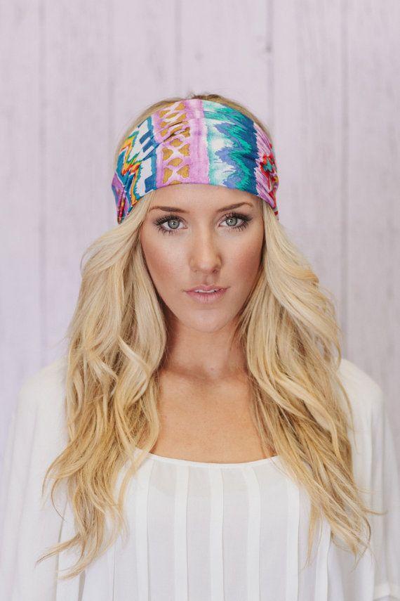 Lavender Aztec Tribal Headband Bohemian Turban Headband Wide Hair Wrap ec50e004a4a