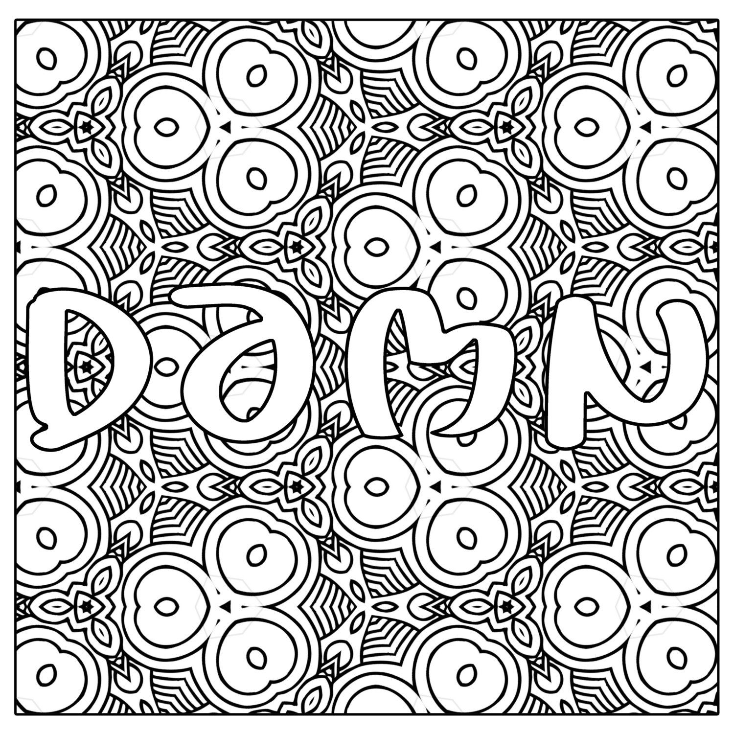 Bad word coloring pages - Dmn Swear Word Coloring Page Jpg Instant By Thinkprintableart