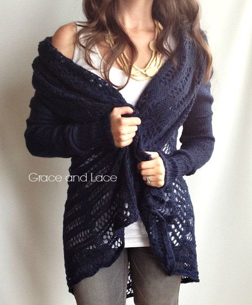 Not that time of year anymore, but look how cute and cozy it is! Over-sized Knit Cardi - NAVY knit cardigan - knit sweater - knitted cardi - open knit - grace and lace on Etsy, $44.00
