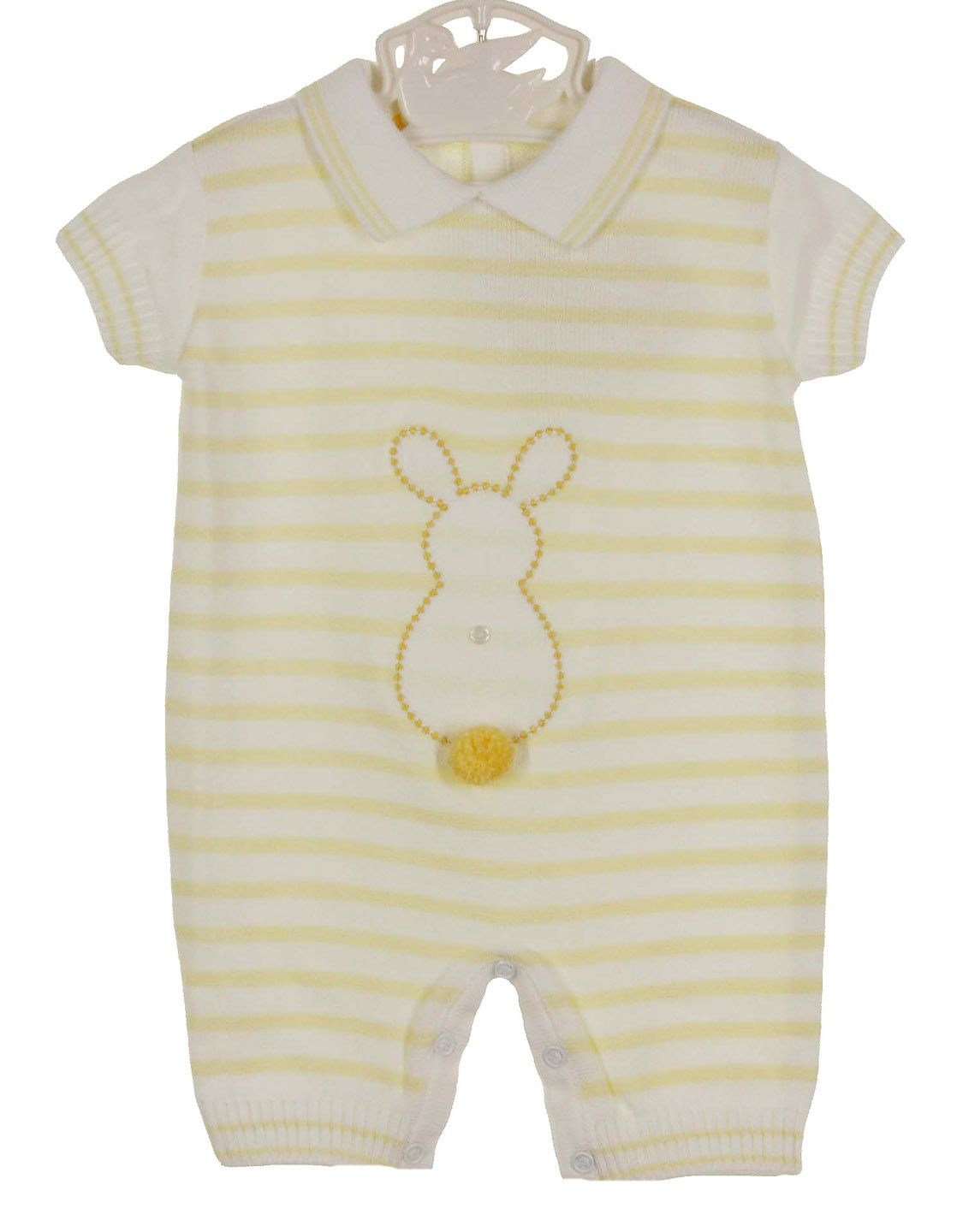 b91b36fb8788 NEW Dolce Goccia Yellow and White Striped Cotton Knit Romper with ...