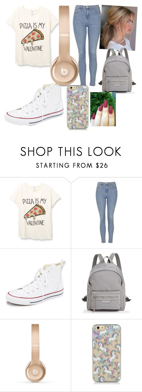 """me and  on v-day"" by maryjsullivan ❤ liked on Polyvore featuring Topshop, Converse, Longchamp and Beats by Dr. Dre"