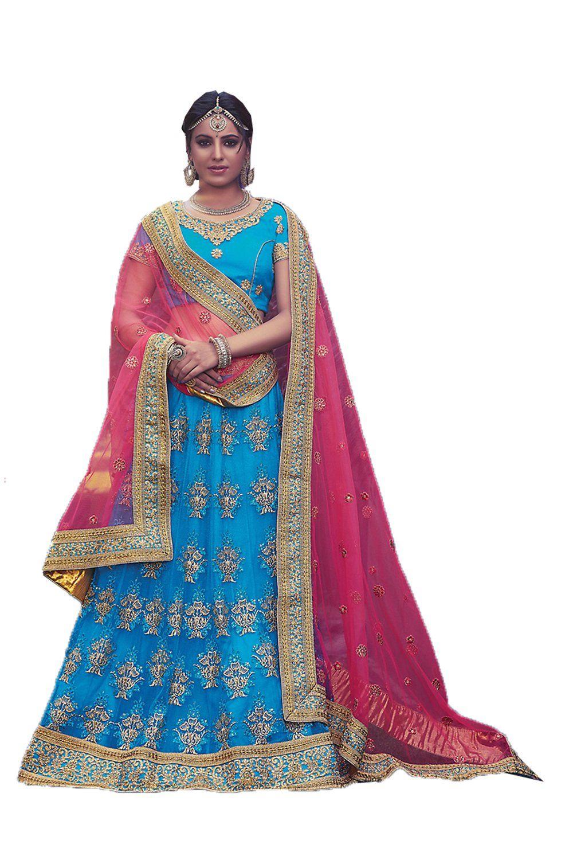 Mrsindia womens pretty circular lehenga style in sky blue with