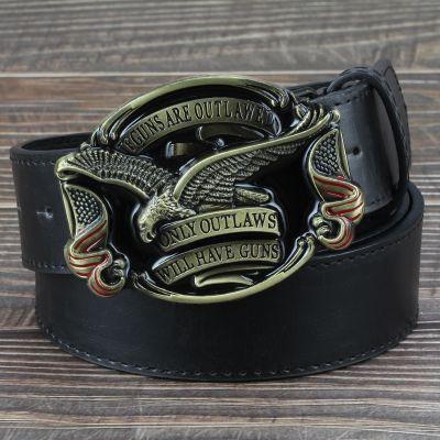 Photo of Men Jeans Belt Golden Eagle Belt US Flag Hawk Emblem Have Gu…