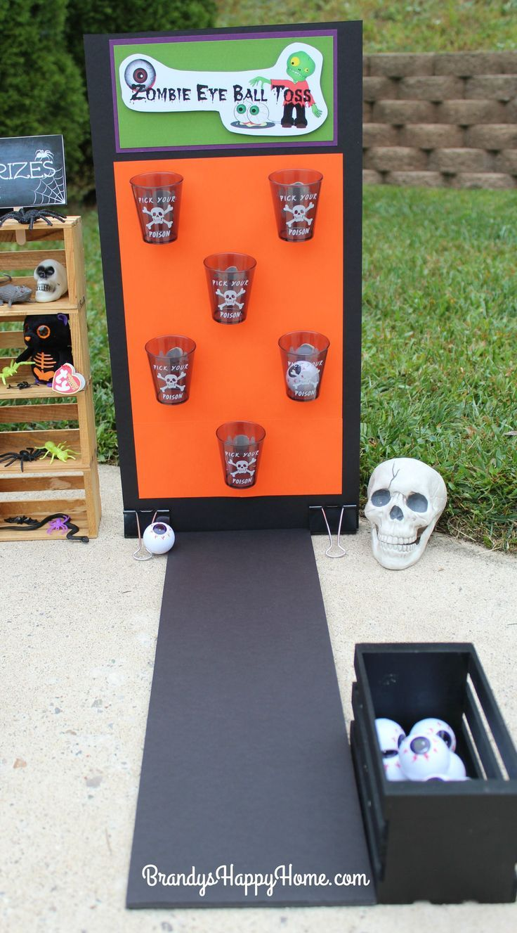 See who can throw the most zombie eyeballs into each spooky cup this Halloween. ... #halloweenpartygamesforkids