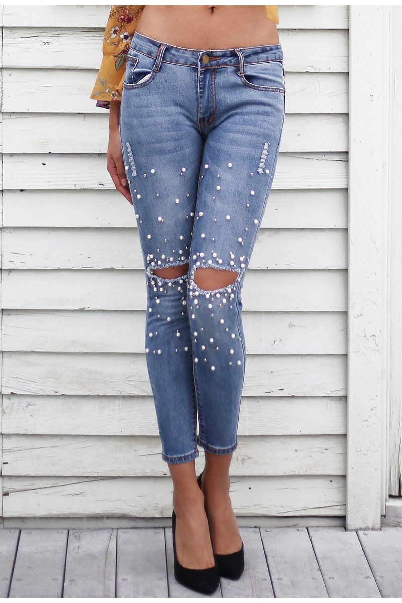 38241813b201 Streetwear Pearl Hole Jeans LAVELIQ   The Denim Closet   Jeans pants ...