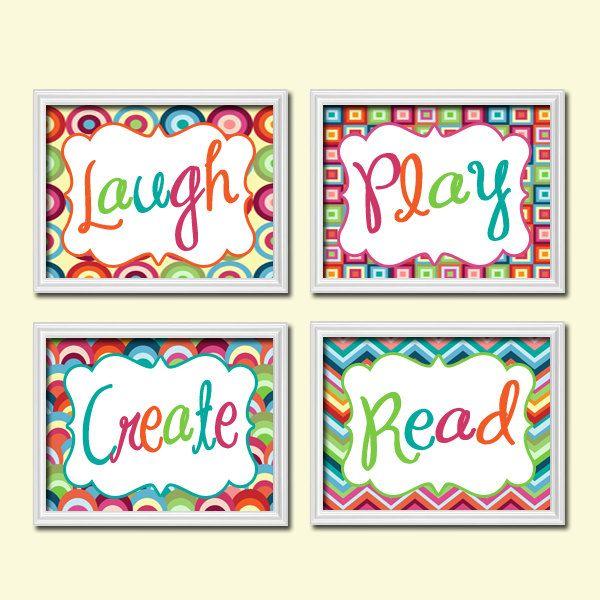 Custom Colorful Bold Set of 4 Laugh Play Create Read Wall Decor Art ...