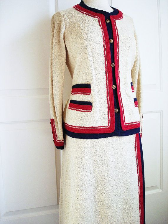 994b0200ea8e0 RESERVED Vintage 60s Adolfo suit/ Saks Fifth Avenue designer cream ...