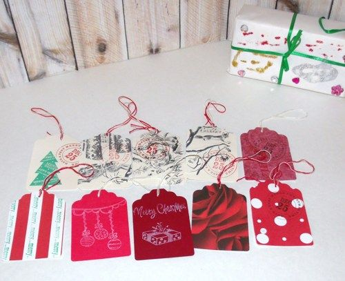 Butterflies In The Attic: 10 Christmas Gift Tags - Upcycled Books - Hand Stamped DieCut - Gift Wrap REFNO.11.13.36