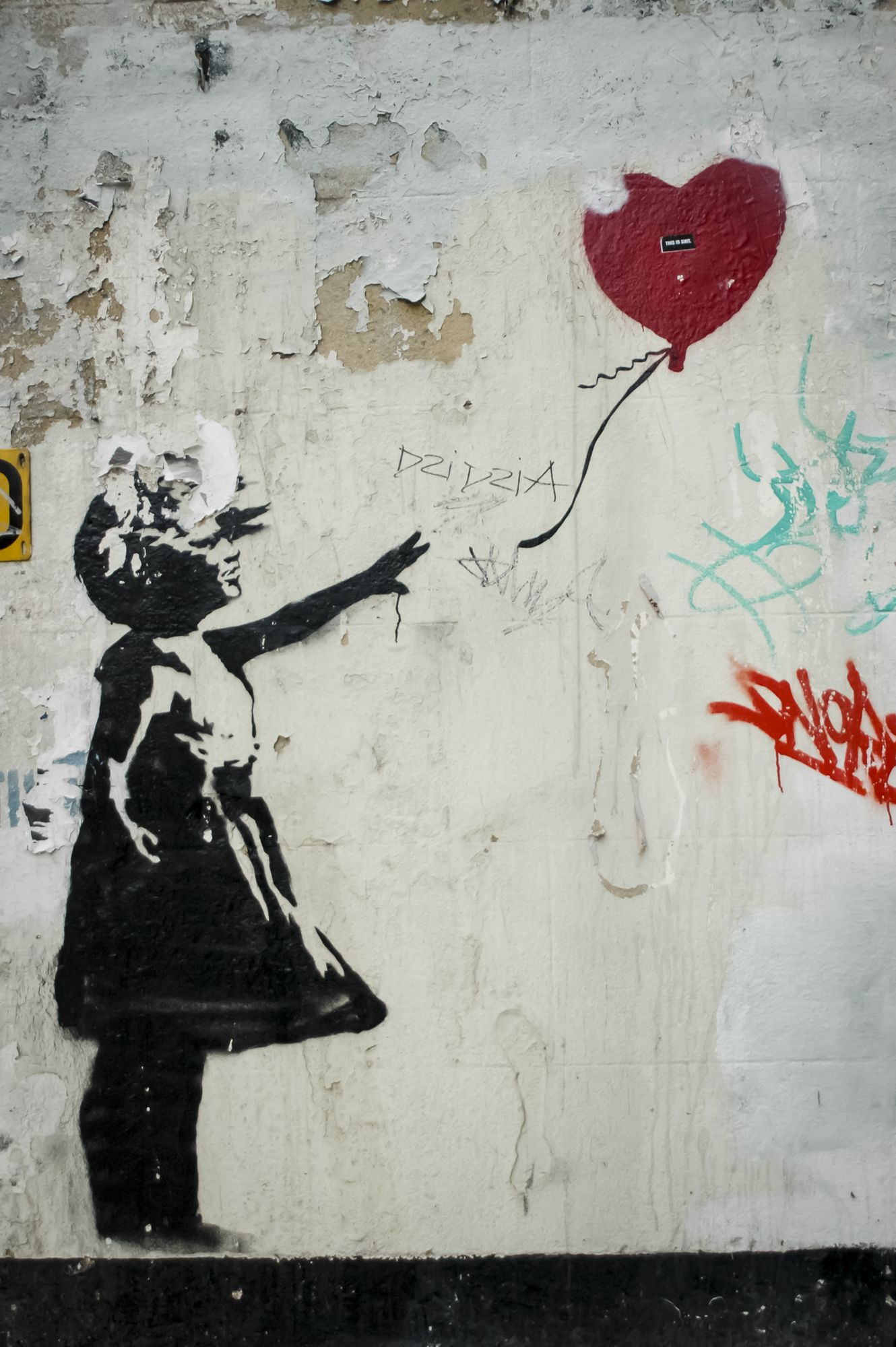 banksy girl with red balloon wall mural street art on simply wall street id=86041